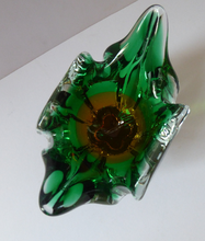 Load image into Gallery viewer, HOSPODKA STYLE; Made in Czechoslovakia Label. Fine Chunky 1960s Green and Yellow Cased Glass Bowl