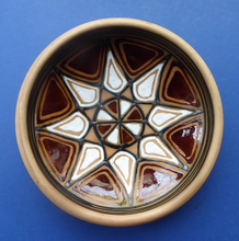 Load image into Gallery viewer, Vintage DANISH Art Pottery Flat Bowl. Attractive Geometric Design. Impressed mark for ABBEDNAES Pottery, Denmark below