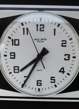 Load image into Gallery viewer, Vintage 1970s ANSTEY & WILSON Abstract Black and White Wall Clock. Good Vintage Condition. Battery Operated