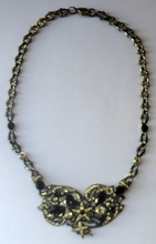 Load image into Gallery viewer, DESIGNER JEWELLERY. 1980s Vintage FLOTTY Bijoux Necklace - with oodles of diamante and cut black glass stones