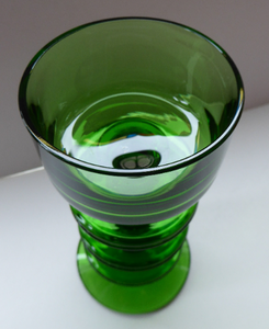 Stylish 1970s SHERINGHAM WEDGWOOD GLASS Green Candlestick by Stennett-Wilson. 6 inches high