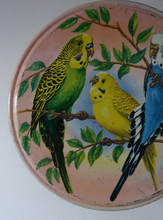 Load image into Gallery viewer, Peek Freans Round Biscuit Tin with Budgie Design