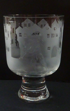 Load image into Gallery viewer, Engraved Vintage Caithness SCOTTISH GLASS Rummer / Goblet by Colin Terris (1937 - 2007). The Pied Piper playing on his enchanted pipe