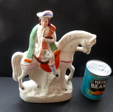 Load image into Gallery viewer, Antique Victorian STAFFORDSHIRE Figurine. Scottish Gentleman on Horseback. Dressed in His Kilt and Playing the Bagpipes. 11 inches
