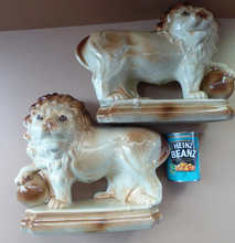 Load image into Gallery viewer, LARGE PAIR of ANTIQUE Staffordshire Style Medici Lions with front paw on ball. 14 inches in length