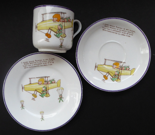 Rare 1930s SHELLEY POTTERY Mabel Lucie Attwell Boo-Boos Matched Trio: Cup, Saucer & Side Plate. Aeroplane Design