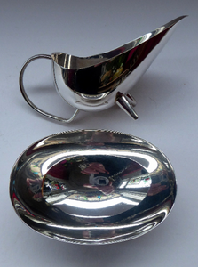 ART DECO. Beautiful 1930s WMF Silver Plate Milk or Cream Jug and Open Oval Shaped Sugar Bowl. Each with Stylish Prong Feet