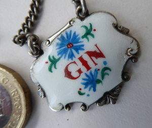 VINTAGE Silver and Enamel GIN Decanter or Bottle Label Birmingham Hallmarked 1956