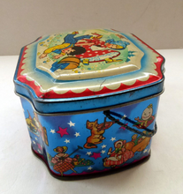 Load image into Gallery viewer, Very Sweet Vintage 1950s HORNER Nursery Tin. Jack and Jill on lid - and various other characters around the sides