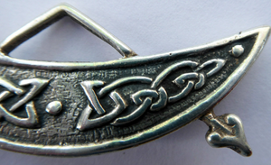 SCOTTISH SILVER. Rarer 1950s Scottish PICTISH Design: Crescent and Rod Brooch. Iain MacCormick Iona (after Alexander Ritchie original)