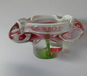 Josef HOSPODKA / Chribska; Czechoslovakia. Vintage 1960s Bowl with Green and Cranberry Colours Cased in Clear - with white rim