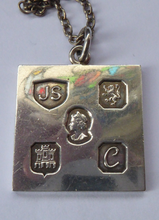 Load image into Gallery viewer, 1970s Vintage Jack Spencer Sterling Silver Ingot Pendant & Chain. Edinburgh Hallmark for the Silver Jubilee