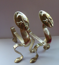 Load image into Gallery viewer, Quirky Pair of VICTORIAN Brass Andirons or Fire Dogs. Strange Art Nouveau / Arts & Crafts Undulating Shape
