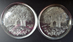 Vintage KOSTA BODA Style Crystal Glass Christmas Plate - with Attractive Trees & Meadows Design