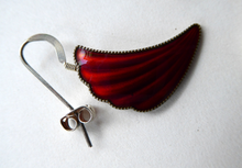 Load image into Gallery viewer, 1950s NORWEGIAN Guilloche Enamel and Silver Drop Earrings by Elvik & Co. Red Shell Shaped for Pierced Ears with Silver Hooks