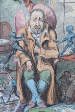 Load image into Gallery viewer, Original GEORGIAN Satirical Print by George Cruikshank (1782 - 1878). Hand-coloured etching entitled Indigestion and dated 1825
