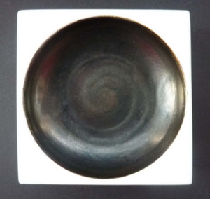 Early TROIKA St Ives Pottery. Minimalist Square Dish with Black Dot Indentation. Honor Curtis 1969-1973 Cornwall England