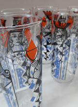 Load image into Gallery viewer, Vintage 1960s Ravenshead SIX Slim Jims Drinking Glasses. ROYALTY (Playing Cards) Design by Alexander Hardie-Williamson