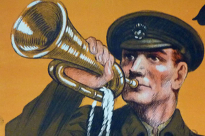 GENUINE Antique WWI Recruitment Poster: Another call / More Men and still more .... Original Lithograph; published 1914