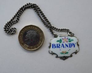 VINTAGE Silver and Enamel BRANDY Decanter or Bottle Label Birmingham Hallmarked 1957