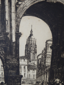 Sidney Tushingham (1884-1968). Pencil Signed Drypoint Etching.  Plaza del Corrillo, Salamanca in Spain. Framed and in excellent condition