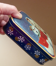 Load image into Gallery viewer, Cute Little Vintage 1960s SNOWMAN CAROL SINGING Christmas Waller & Hartley Toffee Tin