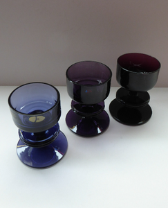 Stylish 1970s SHERINGHAM WEDGWOOD GLASS Set of Three Purple Candlesticks by Stennett-Wilson. 3 1/2 inches High
