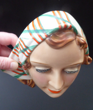Load image into Gallery viewer, ART DECO Goebel Wall Mask. 1930s Lady with Checked Headscarf and Modelled Long Eyelashes