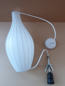 Mid-Century Design Classic. 1950s Skittle Shaped Glass Hanging Lampshade; possibly Danish. Opaque White Glass with Grey Stripes