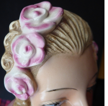 Load image into Gallery viewer, ART DECO Goebel Wall Mask. Smaller Sized One: 1930s Glamour Lady with Pretty PInk Flowers in her Hair