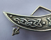 Load image into Gallery viewer, SCOTTISH SILVER. Rarer 1950s Scottish PICTISH Design: Crescent and Rod Brooch. Iain MacCormick Iona (after Alexander Ritchie original)