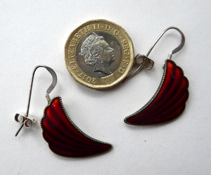 1950s NORWEGIAN Guilloche Enamel and Silver Drop Earrings by Elvik & Co. Red Shell Shaped for Pierced Ears with Silver Hooks