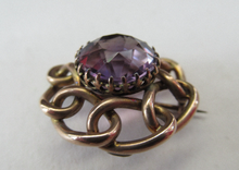 Load image into Gallery viewer, Vintage 9ct Gold Brooch. Beautifully Made Solid Gold Brooch Set with Faceted Amethyst Stone