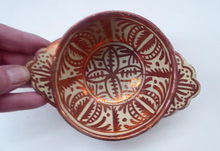 Load image into Gallery viewer, Old HISPANO-MORESQUE Copper Lustre Bowl with Lug Handles