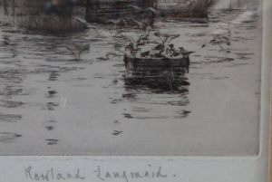 ORIGINAL ETCHING Rowland Langmaid (1897-1956) Newlyn & St Michael's Mount, Cornwall. Pencil signed