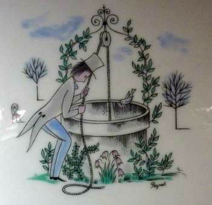 RAYMOND PEYNET. Vintage Rosenthal Lidded Dish. Quirky Design with a Man Pulling a Lady out of a Well