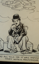 "Load image into Gallery viewer, Original 1940s CHARLIE CHAPLIN ""The Great Dictator"" Cartoon by the British Cartoonist: Sidney Strube (1891 - 1956). Signed; Pen & Ink"
