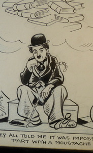 "Original 1940s CHARLIE CHAPLIN ""The Great Dictator"" Cartoon by the British Cartoonist: Sidney Strube (1891 - 1956). Signed; Pen & Ink"