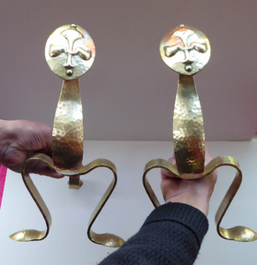 Quirky Pair of VICTORIAN Brass Andirons or Fire Dogs. Strange Art Nouveau / Arts & Crafts Undulating Shape