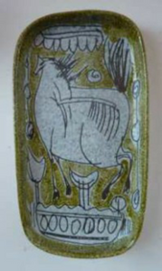 1950s Mid-Century Italian Sgraffito Ceramic Dishes. Pair with Bull and Horse, Probably by FRATELLI FANCIULLACCI