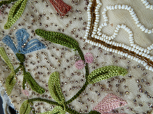 Load image into Gallery viewer, Delicate Vintage 1940s / 1950s Beaded Evening Bag; BELGIAN. Embellished with glass beads, and Embroidered Flowers