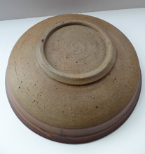 Load image into Gallery viewer, Large STUDIO POTTERY 1970s Stoneware dish with striped pattern by Jason Wason