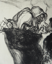 Load image into Gallery viewer, ORIGINAL 1920s Etching & Drypoint by EDMUND BLAMPIED (1886 - 1966). The Market Argument. Signed in ink