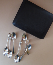 Load image into Gallery viewer, Boxed Set Silver Plate Teaspoons and Sugar Tongs