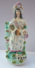 Load image into Gallery viewer, Antique Victorian STAFFORDSHIRE FIGURINE. Genuine Example. Rosy Cheeked Lady in Floral Dress Playing Concertina with Lamb at her Feet
