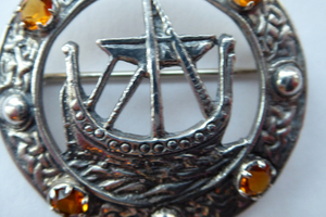 Vintage 1960s Edinburgh Hallmarked Celtic Brooch with Viking Ship. Maker's Name: H. Wright & Son