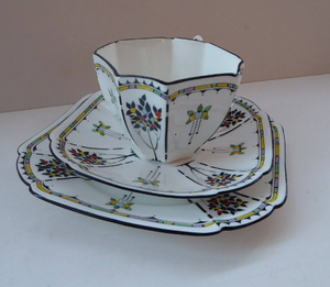 1930s Shelley TRIO QUEEN ANNE Shape. Beautiful Art Deco Cup, Saucer & Side Plate with Rarer Coloured Fruits Tree Pattern