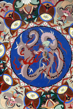 Load image into Gallery viewer, Antique Cloisonne Charger. Late 19th Century Large Size, over 14 inches: Decorated with a Swirling Dragon and Intricate Decorative Border