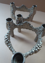 Load image into Gallery viewer, PAIR of Vintage 1970s VARIOMASTER QUIST Stackable German Nickel Plated Candlesticks