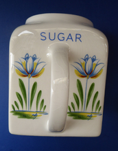 Load image into Gallery viewer, 1950s BRISTOL POTTERY Kitchen Canister or Storage Jar. Vintage Old Delft Tulip Design with Carrying Handle. SUGAR